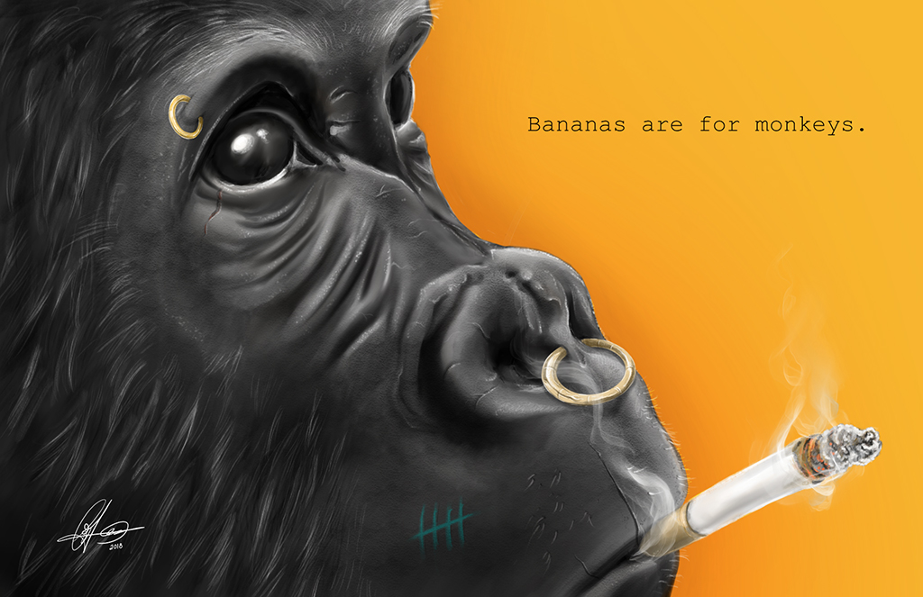 Bananas are for monkeys. Digital art.