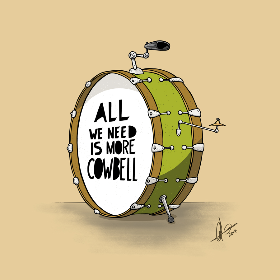 All we need is more cowbell. Illustration.