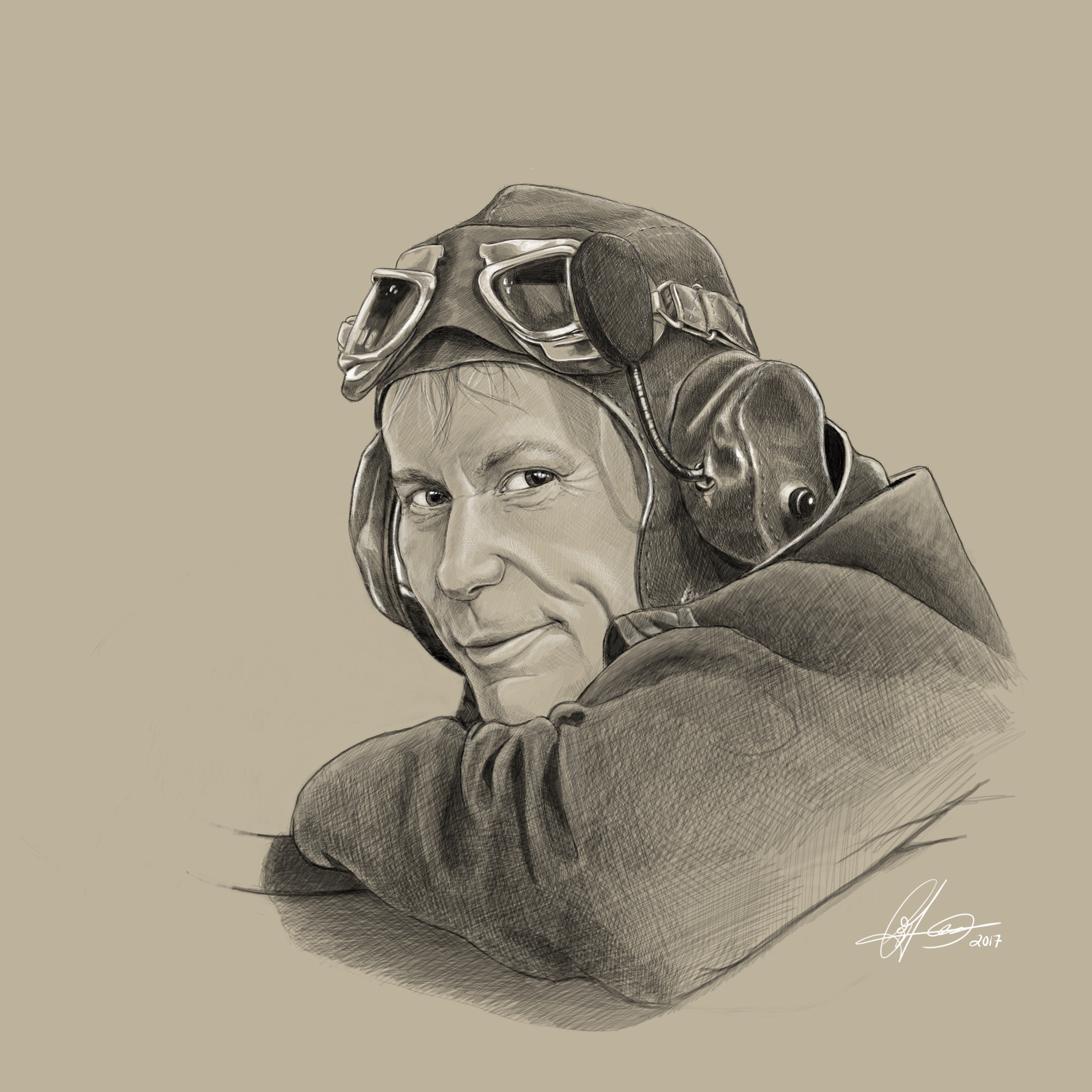 Bruce Dickinson as WWI pilot.Digital art